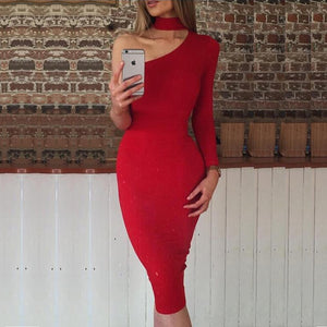 FREE SHIPPING _ One Shoulder Sexy Club Bodycon Party Dresses Women 2019 Spring Long Sleeve Halter Wrap Pencil Dress Red Black White