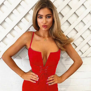 New Summer Bandage Bodycon Dress women 2018 Deep V Neck Lace Up Midi Halter Sexy Sleeveless Club Party Dresses Vestidos