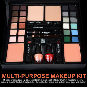 FREE SHIPPING _ 39pcs/set Colors Professional Make Up Palette Kit Eyeshadow Blusher Powder Metallic Shimmer Foundation Powder Makeup Set