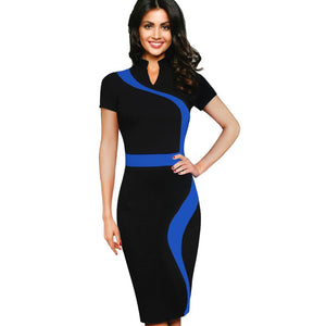New Designer Evening Vestidos Pencil Sheath Summer Dress For Women Bodycon Sheath Office Dress Stand Neck Tunic One-piece _ FREE SHIPPING WORLDWIDE