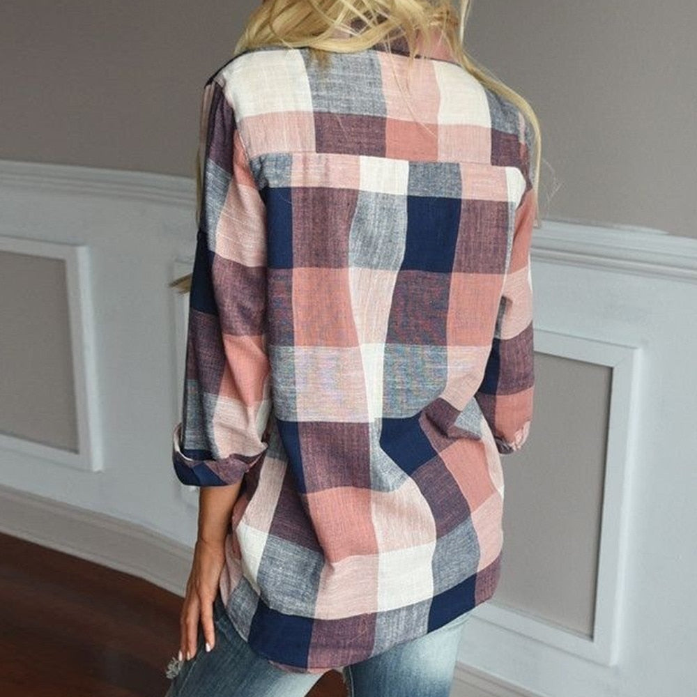 FREE SHIPPING _ Fashion womens tops and blouses Female Casual Matching Color Long Sleeve Button Loose Plaid Shirt Top blusas mujer de moda