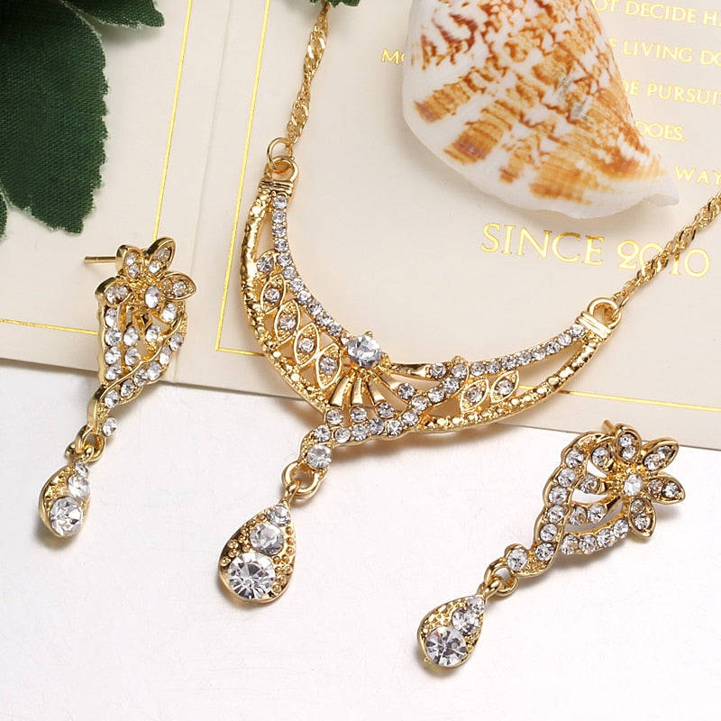 FREE GIVEAWAYS GIFTS ONLY PAY FOR SHIPPING $10.99 _ Jewelry Set Dubai Gold Silver Jewelry Sets For Women Crystal Beads Wedding Jewellery Set Bridal Costume Jewelery