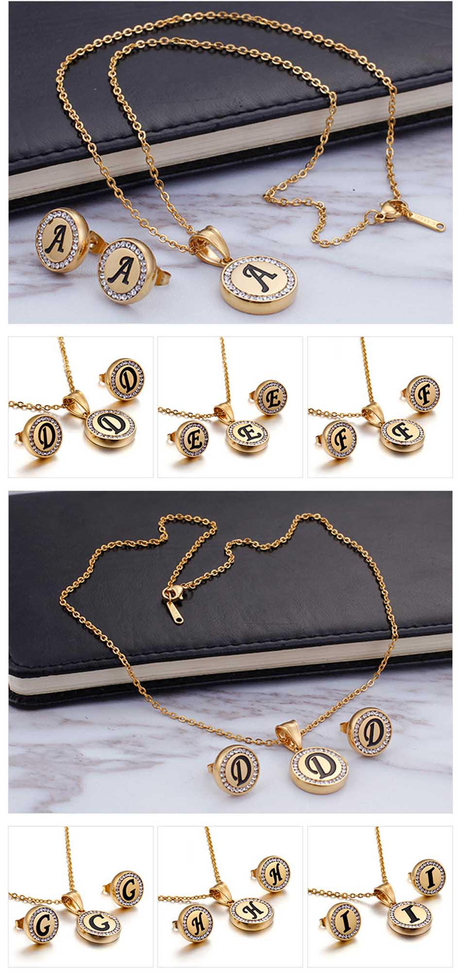 Stainless Steel Gold Color Alphabet Name Pendant Initial Necklace Chain Personalized Women Jewelry Accessories ZM6