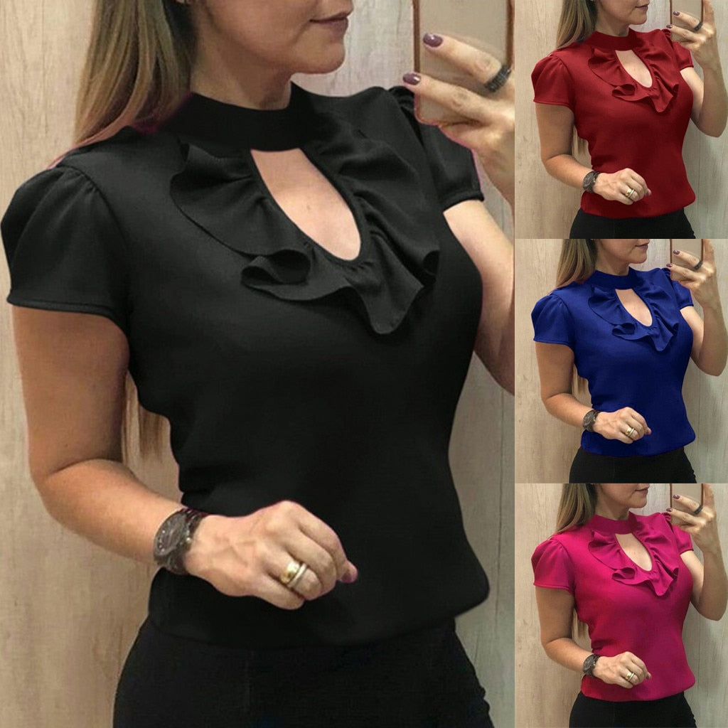 FREE GIVEAWAYS ONLY PAY FOR SHIPPING $10.99 _ Summer Fashion Casual Solid Ruffle Tops Blouse Work OL Tee Top Female Women's Short Sleeve Shirt Blusas Femininas Clothing