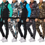 FREE SHIPPING _ 2019 New Camouflage Printed Men Set Causal Patchwork Jacket Autumn Winter Sport outdoor Suits Coat Trousers Tracksuit