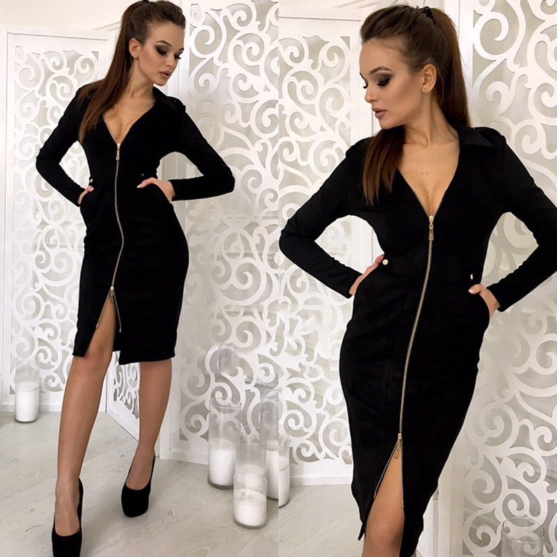 2019 New Women High Quality Velvet Dress Autumn Long Sleeve Elegant Vintage Dress Sexy V-neck Zipper Party Khaki Red Dress