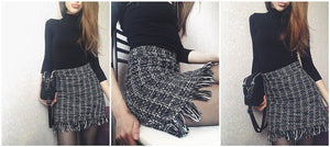 FREE SHIPPING _ Women Woolen Mini Skirt Autumn Winter Vintage Straight Plaid Tassel Skater Skirt High Waist Femininas SK5583
