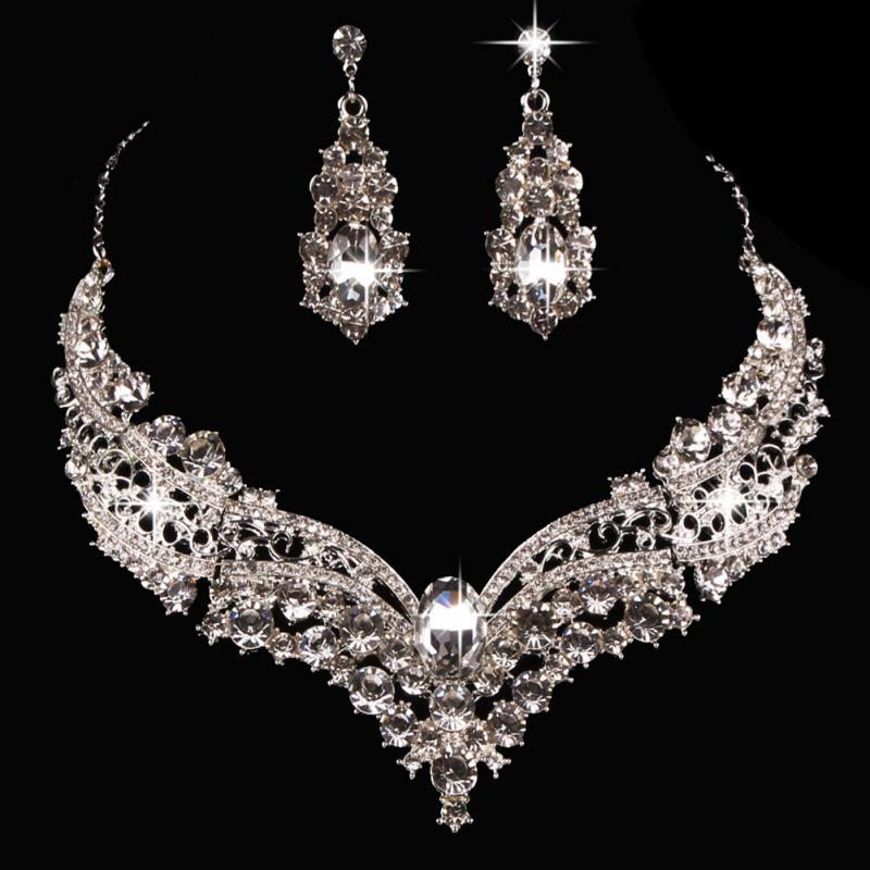 FREE SHIPPING _ Female Jewelry Set Necklace Earring Wedding Bridal Queen Alloy Shiny Rhinestone Necklace Earrings Sets Party Crystal Jewelry Set