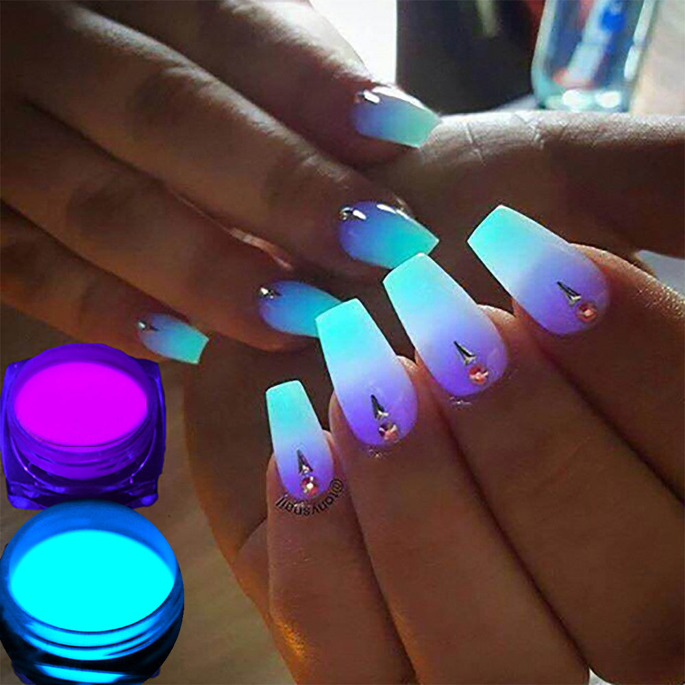FREE SHIPPING _ SET OF 4 X 1 Box Neon Phosphor Powder Nail Glitter Powder 10 Colors Dust Luminous Pigment Fluorescent Powder Nail Glitters Glow in the Dark