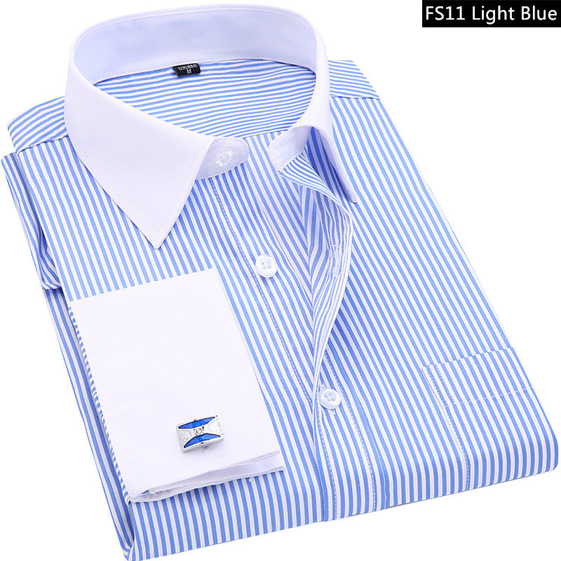 FREE SHIPPING _ High Quality Striped Men French Cufflinks Casual Dress Shirts Long Sleeved White Collar Design Style Wedding Tuxedo Shirt 6XL