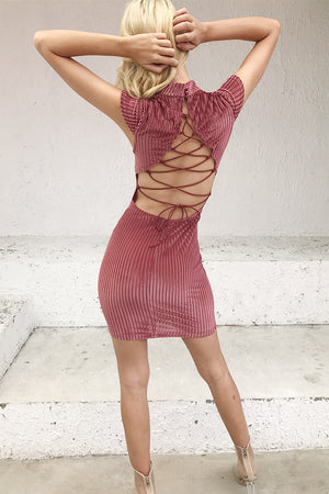 Corduroy backless lace up vintage dress women Sexy mandarin collar bodycon dress elegant party dresses robe