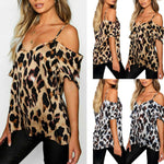 FREE GIVEAWAYS GIFTS ONLY PAY FOR SHIPPING $10.99 _ Womens Ladies Summer Leopard Print Cold Shoulder Blouse T-shirt Tops (S-2XL) harajuku camisetas verano mujer 2019 camiseta mujer