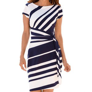 Women Elegant Dress Fashion Hot Summer Short Sleeve O Neck Knee Length Shift Dresses with Belt OL Style Work Dress