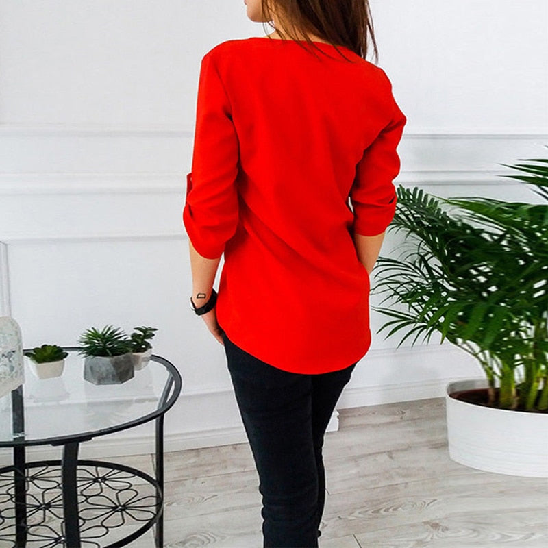 Women Spring Summer Chiffon Blouse Top 2018 V Collar Zipper Roll Up Long Sleeves Loose Shirt