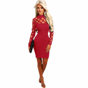 New Arrival Autumn Bandage Women Dress Hollow Out Party Night Club Sexy Dress Long Sleeve Bodycon Dresses Vestidos Robe