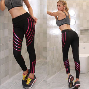 FREE SHIPPING _ Casual Women Sports Long Pants Gym Push Up Striped Leggings Workout Jogging Skinny Pants Trousers Comfy Ladies Clothes S-XL