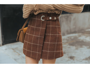Women Ulzzang Autumn And Winter Harajuku Thickened Woolen Plaid Retro Skirt Female Cute Japanese Kawaii Skirts For Women
