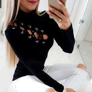 FREE SHIPPING _ 2019 Spring Women Elegant Fashion Sexy Solid Black Basic Top Office Style Lace-Up Eyelet Hollow Out Long Sleeve Casual Shirt