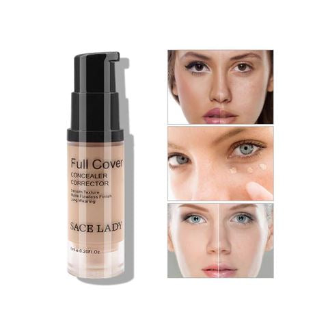 FREE SHIPPING _ Full Cover 8 Colors Liquid Concealer Makeup 6ml Eye Dark Circles Cream Face Corrector Waterproof Make Up Base Cosmetic