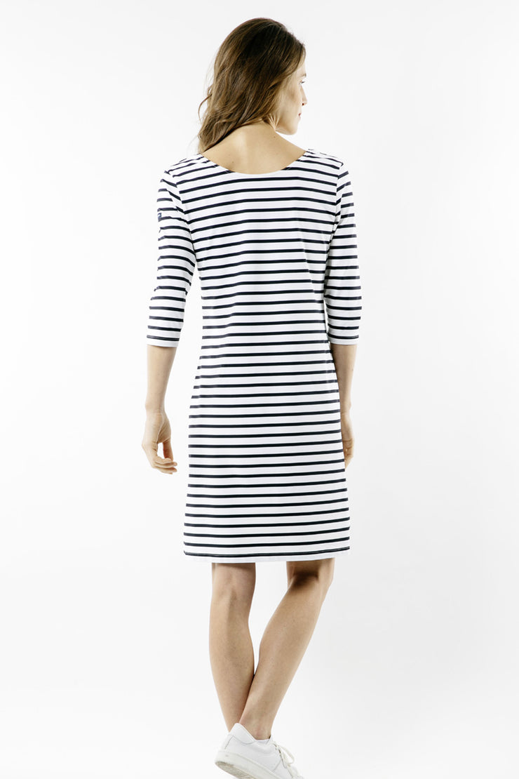 Saint James A-Line Striped Dress with Scoop Neckline