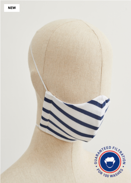 Saint James Washable Face Mask in Breton Stripes