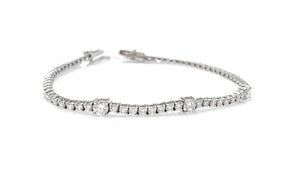 18K White Gold Bracelet with stationed white diamonds 1.56 ctw.