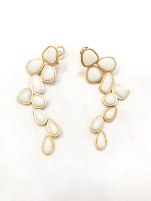 White Opal Pebble Earrings
