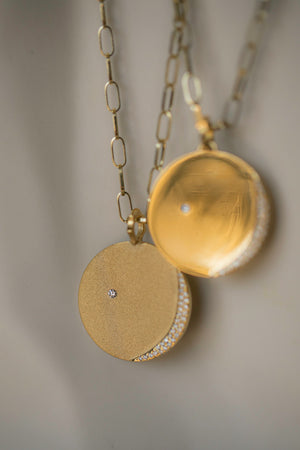 Matte Gold Pendant with Pave Diamonds in the shape of the New Moon
