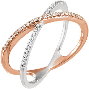 14k white and pink gold and diamond ring