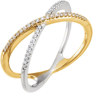 14k white gold and yellow gold with diamonds ring