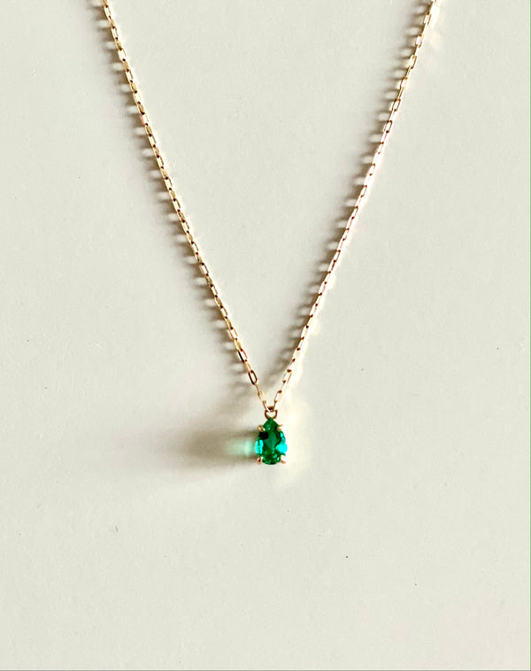 Gold Necklace with Emerald Pendent