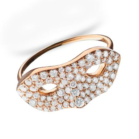 18K Rose Gold Shaped Mask Ring with micro pave set Diamonds .55 ctw - Size 3