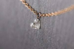 heart diamond necklace, heart diamond, laser drilled heart shaped diamond