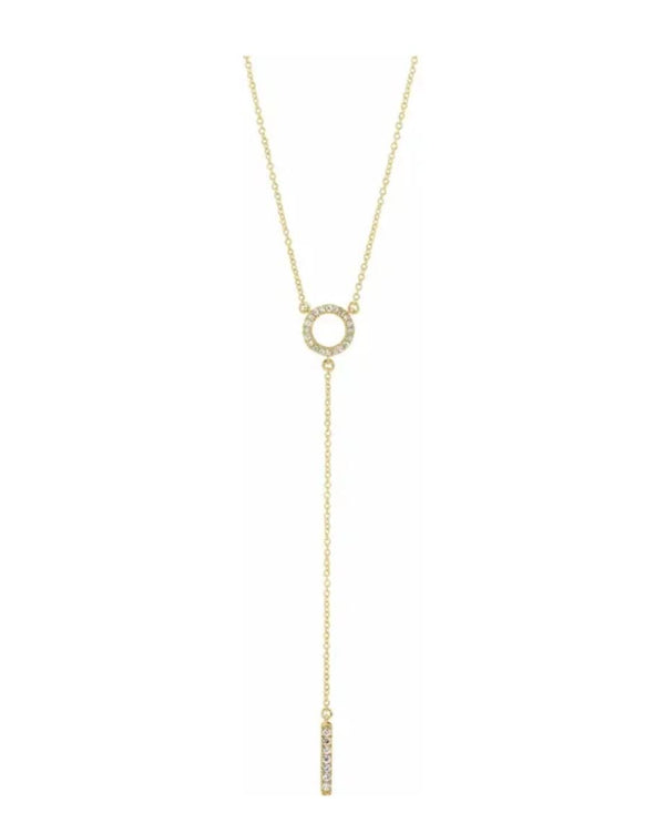 Diamond Circle Bar Y Necklace