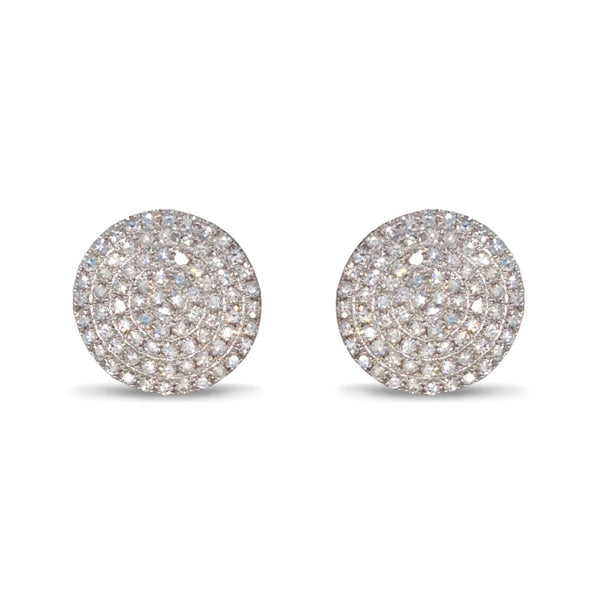 Diamond Pave Disc Stud Earring