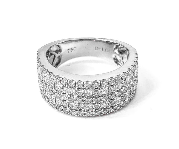 18K White Gold Diamond Band. Has stationed princess cut diamonds 0.68 ctw. and 4 rows of micropave set round diamonds 0.96 ctw.   18K White Gold