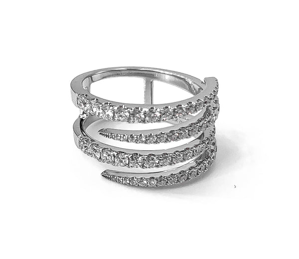 18K White Gold  and Diamond Ring. Spiral design with micropave set round diamonds 1.00 ctw.
