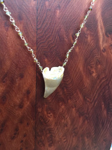 Mosasaur Fossil Tooth and Tourmaline Necklace