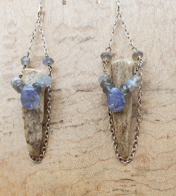 Far North Earrings Antler and Spectrolite