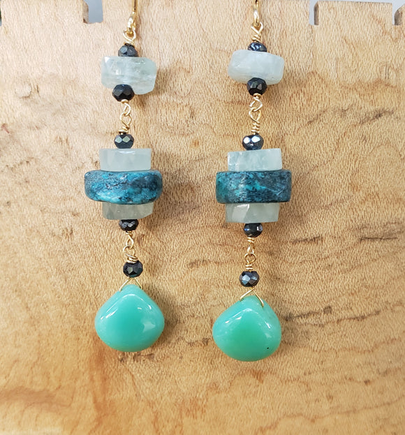 Insouciant Studios Outlet Glacier Earrings Turquoise Aquamarine