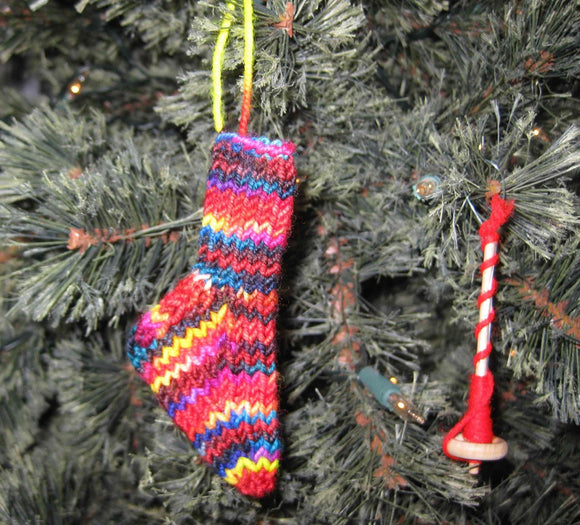 Insouciant Studios Handknit Mini Merino  Sock Stocking Decoration Ornament