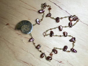 Ammonite Pearl and Peridot Necklace