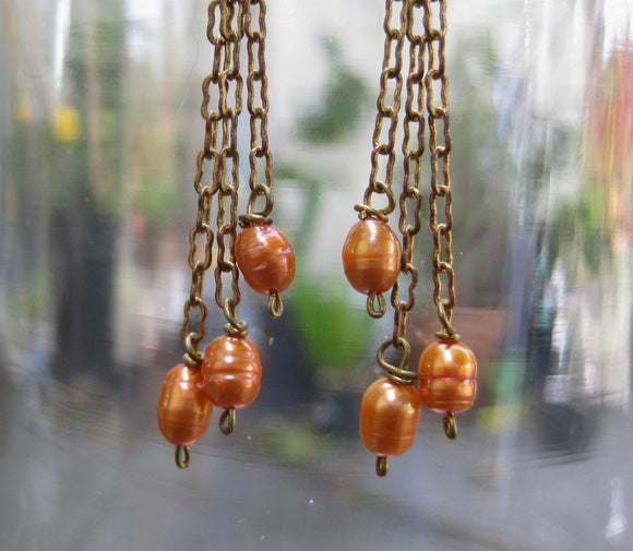 Insouciant Studios Copper Glow Earrings 14k Gold and Pearls
