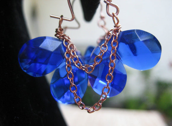 Insouciant Studios Byzantium Collection Copper and Azure Quartz Hoop Earrings
