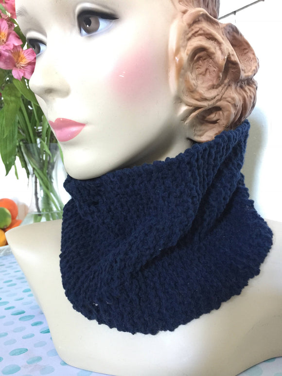 Hand Knit Blue Pullover Scarf