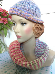 Hand Knit Pastel Cabled Hat and Scarf Set