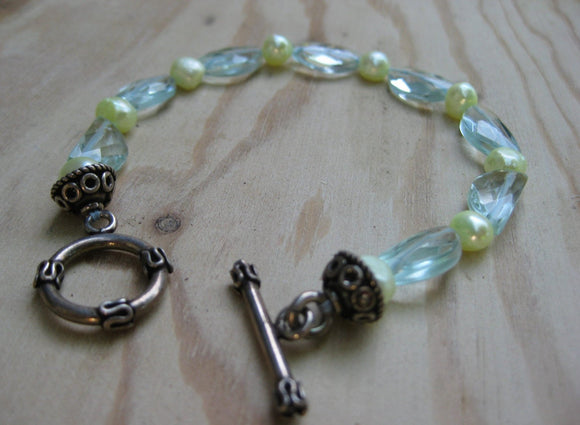Insouciant Studios Moonlit Bracelet Aqua Quartz and Pearls