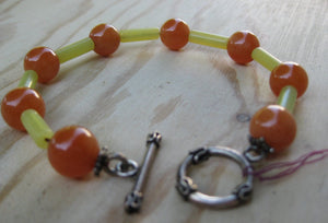 Insouciant Studios Orange Crush Bracelet Carnelian and Serpentine