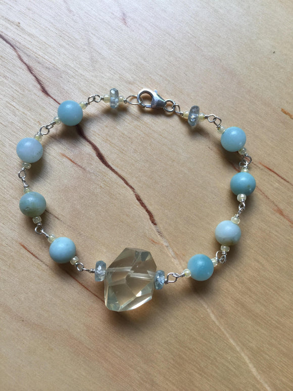 Insouciant Studios Spring Tide Bracelet Natural Zircon Citrine and Amazonite