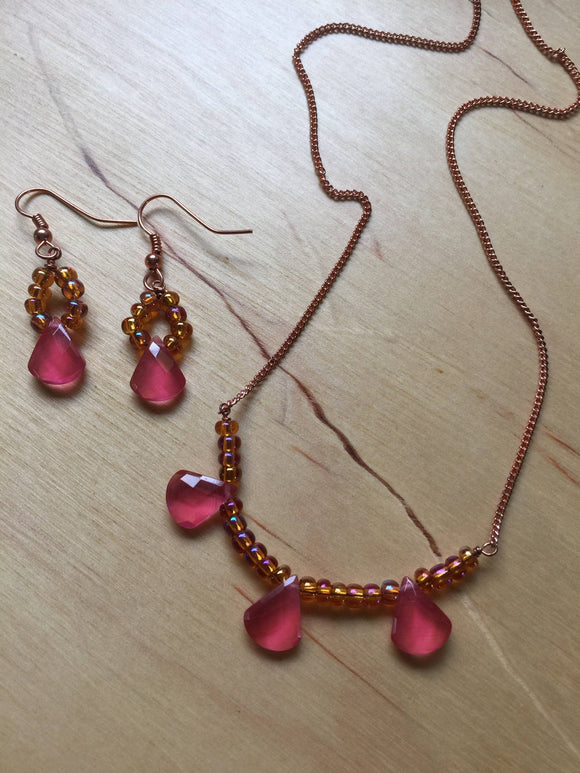 Insouciant Studios Petals Earring and Necklace Set Raspberry Quartz
